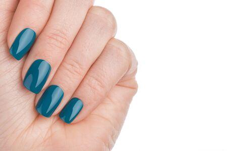 acrylic nails: Beautiful and neat nails green closeup. Stock Photo