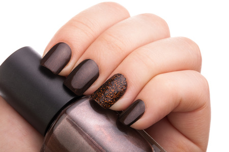 Beautiful brown nails close up.