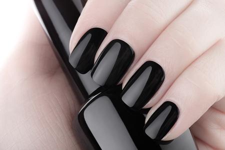manicure nails: Very beautiful black nails close up.