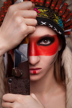 hallucinations: Beautiful girl in a military headdress.