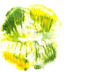 green lipstick: Yellowish green lipstick on natural closeup.