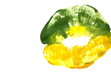 yellowish: Yellowish green lipstick on natural closeup.