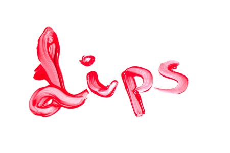 gloss: Red lip gloss on a white background close-up.