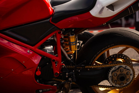 Powerful sport motorcycles in close-up races
