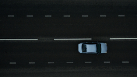 Car on the road. View from above