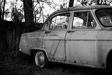 Photo of the old car in the village