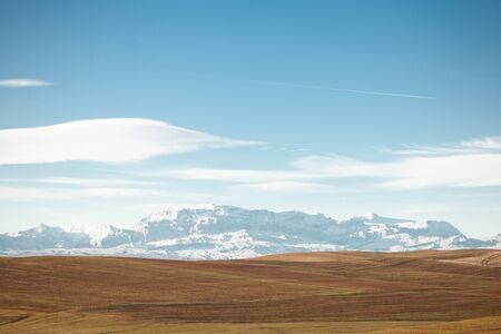 View of the alps in summer on a clear sunny day. Stock Photo