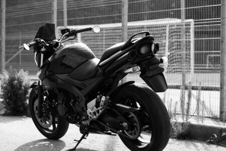 Road black motorcycle on the road.