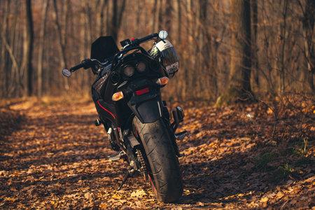 UKRAINE, KIEV - NOVEMBER 22, 2020: Powerful black motorcycle Suzuki GSR600 in forest autumn.