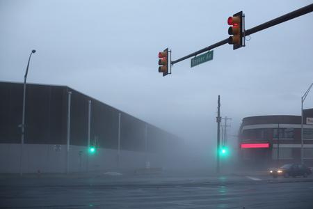 peer to peer: Wooden peer in a deep fog - Philadelphia, PA