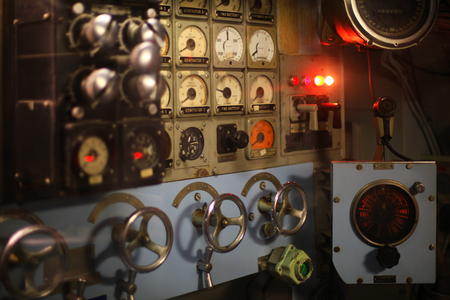 steam rally: Vintage World War II submarine control room Stock Photo