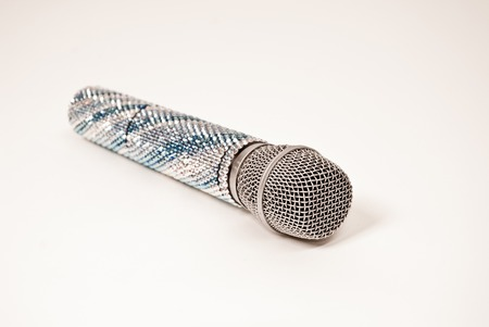 shure: vocal microphone Shure-86 decorated with crystals on a white background isolated Stock Photo