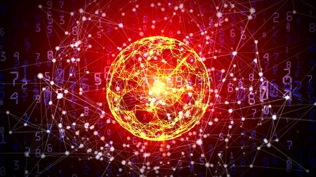 Abstract network sphere with moving numbers, lines and dots - seamless loop animation Stock Photo