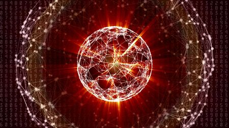 Abstract network sphere with moving numbers, lines and dots - seamless loop animation Stok Fotoğraf