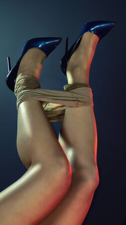 Sexy woman's legs in high heels on dark background