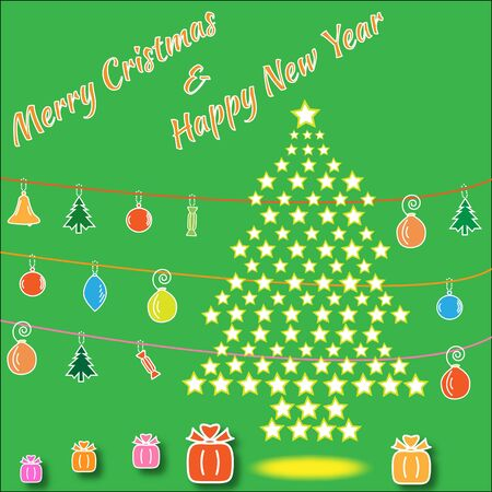 Cristmas: Christmass tree from stars with colorful christmass decoration.