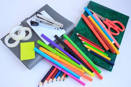 Set of school and office stationery isolated on white background. Closeup. Stock Photo