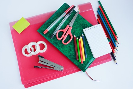 Set of school and office stationery. Objects isolated on white background.
