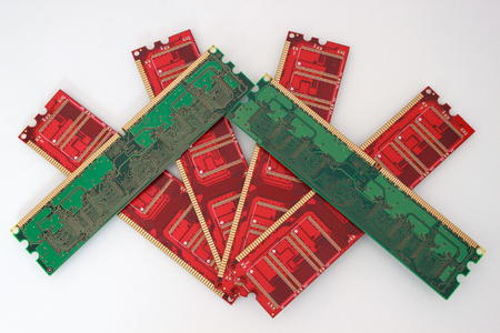 Red and green memory cards for personal computer. Isolated on the white background.