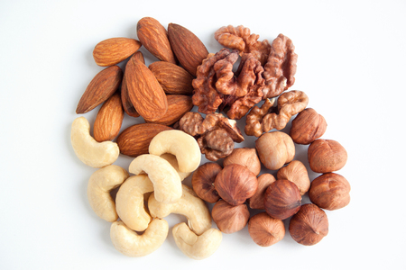 Four kind of the nutritious nuts.