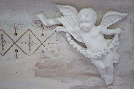 Beautiful stucco molding in the form of an angel. Beautiful interior.