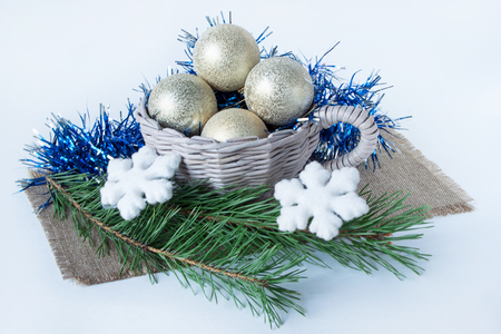 basketry: Decorations for the new year and christmas isolated on a white background. Traditional holidays. Stock Photo