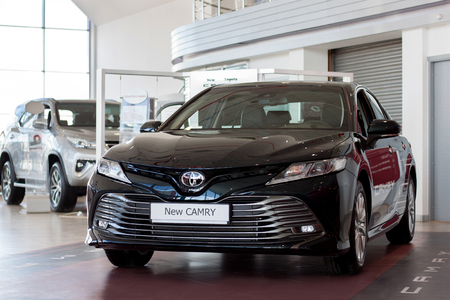 Russia, Izhevsk - April 21, 2018:Showroom Toyota. New vehicle Toyota Camry.