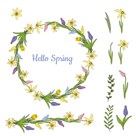 Colorful wreath from various spring flowers. Object isolated on a white background. Vector hand drawing illustration. Ilustrace