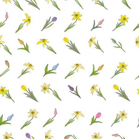 Seamless pattern with different spring flowers. Tulips and daffodils. Individual elements isolated on a white background. Vector hand drawing illustration.