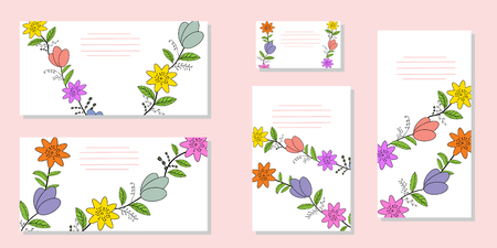 Flat set of vector templates from different flowers. For design of cards, greetings, invitations and advertising booklets. Hand drawing, vector illustration.