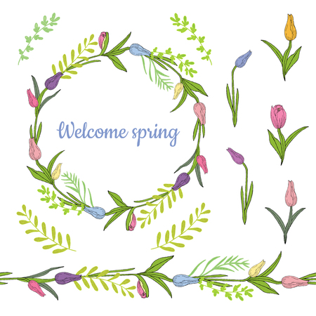 Colorful wreath from beautiful tulips and herbs. Endless horizontal brush. Seamless horizontal border. Vector hand drawing illustration.
