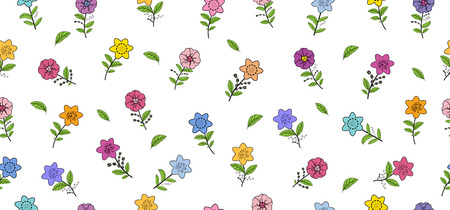 Seamless pattern with different spring flowers. Isolated elements on a white background. Vector hand drawing illustration.