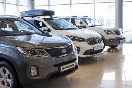 Russia, Izhevsk - April 4, 2019: New cars in the KIA showroom. Famous world brand. Prestigious vehicles. Editorial