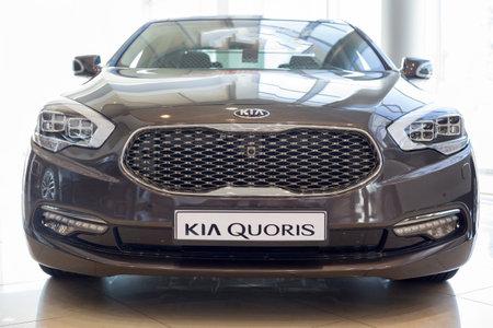 Russia, Izhevsk - April 4, 2019: New KIA Quoris in dealer showroom. Famous world brand. Modern transportation. Editorial