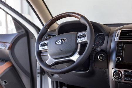 Russia, Izhevsk - February 15, 2019: Showroom KIA. Interior of new car KIA Mohave. Famous world brand. Modern transportation.