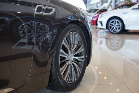 Russia, Izhevsk - April 4, 2019: Showroom KIA. New prestigious cars in dealer showroom. Famous world brand.