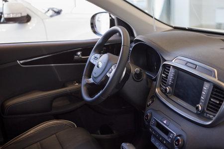 Russia, Izhevsk - February 15, 2019: Showroom KIA. Interior of new car Sorento Prime. Famous world brand. Modern transportation.