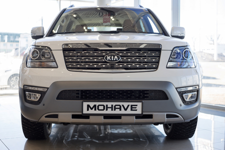 Russia, Izhevsk - April 4, 2019: Showroom KIA. Modern KIA Mohave. Famous world brand. Prestigious vehicles.