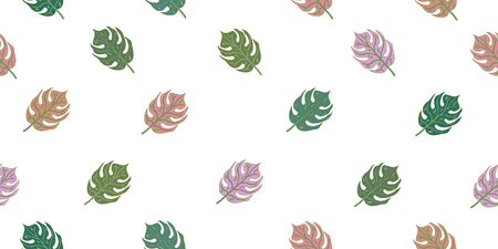 Seamless pattern with tropical leaves. Isolated elements on a white background. Stock Photo