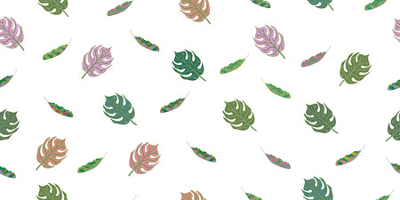 Seamless pattern from leaves of tropical plants. Vector hand drawing illustration. Stock Photo