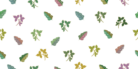 Seamless pattern with tropical leaves. Isolated elements on a white background. Vector hand drawing illustration. Illustration