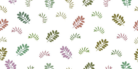 Seamless pattern with tropical leaves and herbs. Isolated elements on a white background. Vector hand drawing illustration.