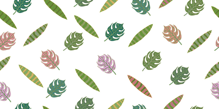Seamless pattern from leaves of tropical plants. Vector hand drawing illustration. Isolated elements on a white background.