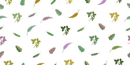 Seamless pattern from leaves of tropical plants. Vector hand drawing illustration. Isolated elements on a white background. Illustration