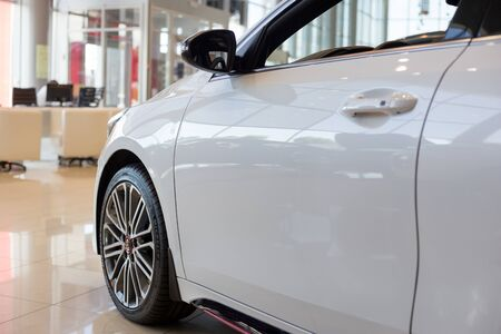 Russia, Izhevsk - July 4, 2019: New cars in the KIA showroom. Modern KIA ProCeed. Side view. Famous world brand.