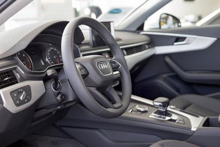 Russia, Izhevsk - September 11, 2019: Audi showroom. Interior of new modern Audi A4. Famous world brand. Standard-Bild - 134500736