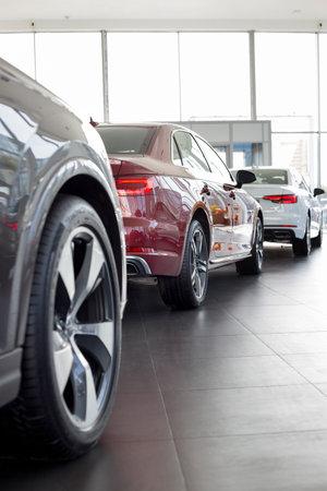 Russia, Izhevsk - September 11, 2019: New cars in the Audi showroom. Famous world brand. Prestigious vehicles. Standard-Bild - 134500737
