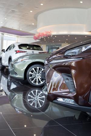 Russia, Izhevsk - July 21, 2019: New cars in the Lexus showroom. Famous world brand. Prestigious vehicles. Standard-Bild - 134500749
