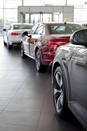 Russia, Izhevsk - September 11, 2019: New modern cars in the Audi showroom. Famous world brand. Standard-Bild - 134500752