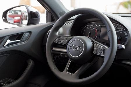 Russia, Izhevsk - September 11, 2019: Audi showroom. Interior of new modern Audi A3. Standard-Bild - 134500762